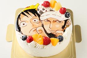 イラストを描いた生クリームのケーキ