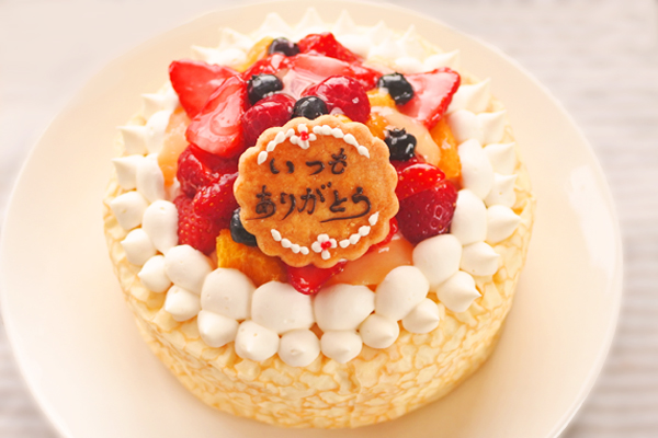 やわらか生地にたっぷりフルーツ☆クレープケーキ 5号の画像1枚目