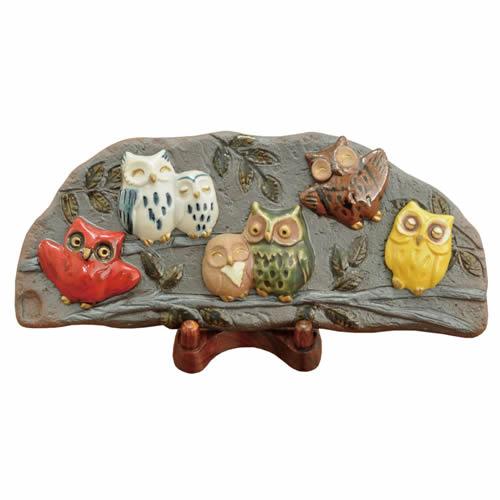 森の七福来郎陶板飾り【誕生日 バースデー ギフト 贈り物 プレゼント 焼き物 オリジナル ふくろう】
