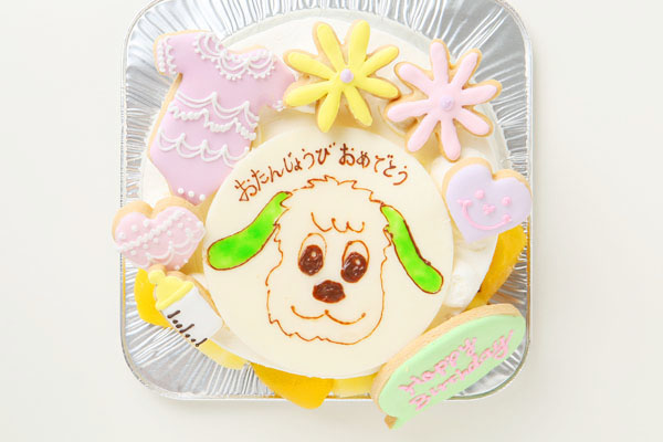アイシングクッキーバースデーケーキ(イラスト) 4号の画像2枚目