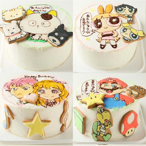 アイシングクッキーのイラストデコレーションケーキ 5号 15cm