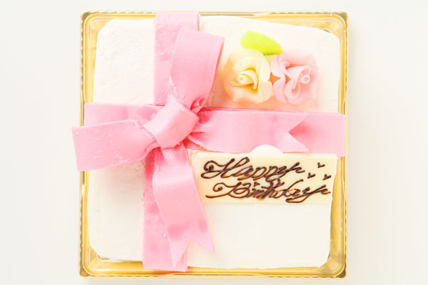 プレゼントボックスケーキ W ホワイト 15×5cmの画像1枚目