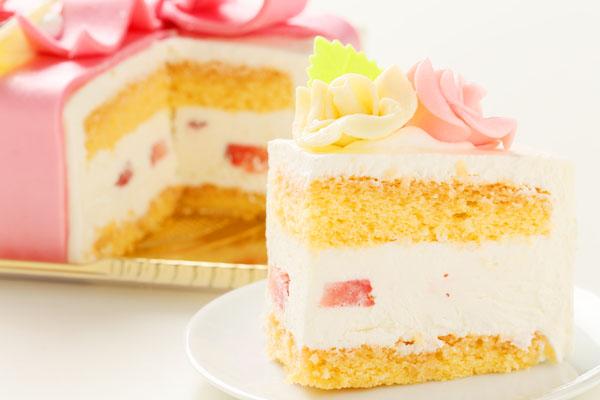 プレゼントボックスケーキ W ホワイト 15×5cmの画像5枚目