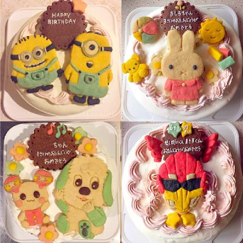 キャラクタークッキーのデコレーションケーキ