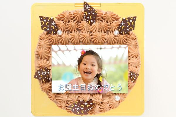丸型フォトチョコ生クリームデコレーションケーキ