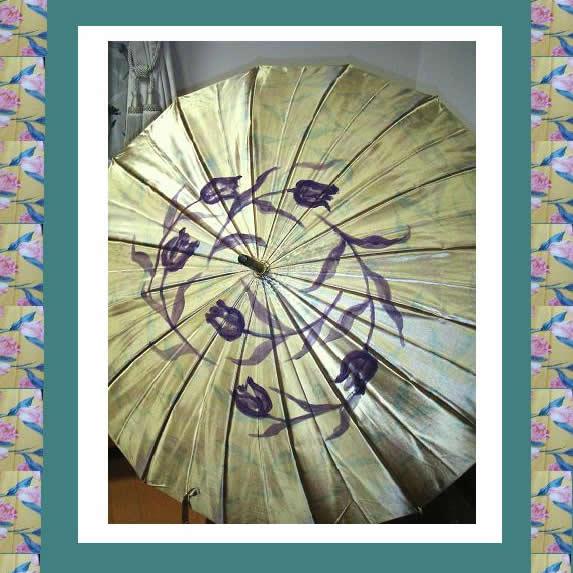 手描き傘/16本手開きサテン裏花柄転写プリント傘【誕生日 バースデー ギフト 贈り物 プレゼント 雨具】の画像1枚目