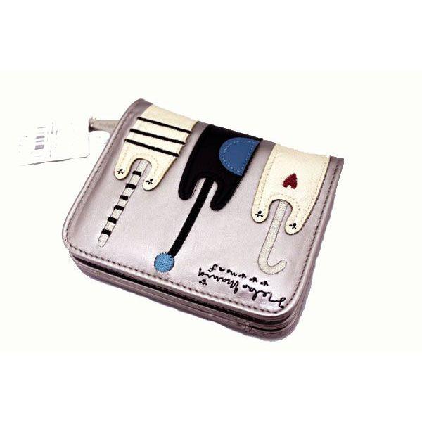 ノアファミリー トリオ猫 合皮 ウォレット 財布 二つ折り財布 小銭入れ付き シルバー【誕生日 バースデー ギフト 贈り物 プレゼント お祝い】の画像2枚目