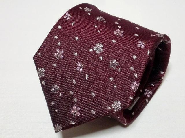 ネクタイ『和』桜吹雪ワイン【誕生日 バースデー ギフト 贈り物 プレゼント お祝い 和 こだわり 父の日】