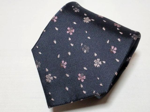 ネクタイ『和』桜吹雪 グレー【誕生日 バースデー ギフト 贈り物 プレゼント お祝い 和 こだわり 父の日】