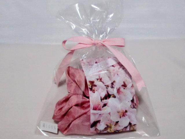 シュシュ桃【誕生日 バースデー ギフト 贈り物 プレゼント お祝い 桃の花 和】の画像3枚目