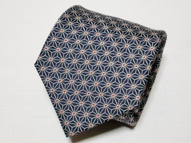 ネクタイ『和』 麻の葉 紺 【日本製 シルクジャカード】::1207【メンズファッション】記念日向けギフトの通販サイト「バースデープレス」