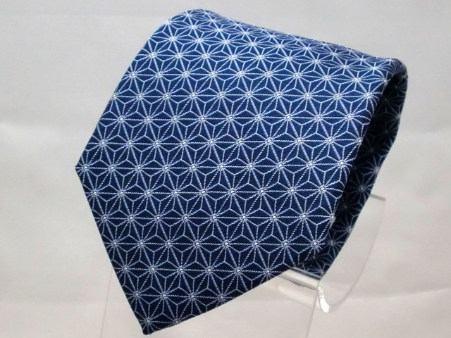 ネクタイ『和』 麻の葉 紺B 【日本製 シルクジャカード】::1207【メンズファッション】記念日向けギフトの通販サイト「バースデープレス」