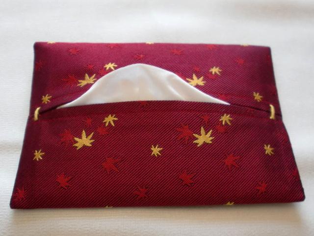 シルク製ポケットティッシュケース 紅葉 ワイン::1207【メンズファッション】記念日向けギフトの通販サイト「バースデープレス」