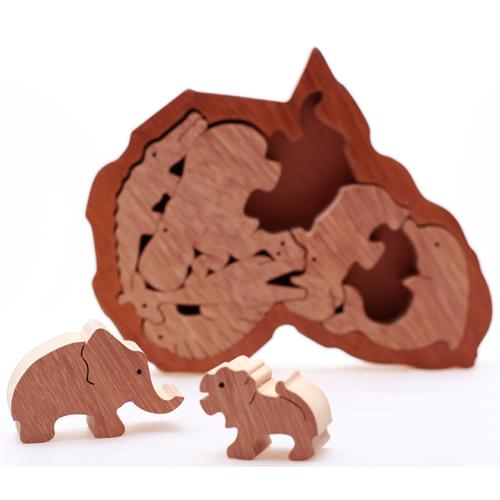 ★南アフリカ★マイクさんのアフリカパズル:陸の仲間たちゾウ、キリン、ワニ、等9種類【おもちゃ 木製 誕生日 バースデー ギフト 贈り物 プレゼント お祝い】の画像1枚目