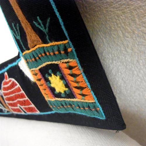 ★南アフリカ★ファンシーステッチ 刺繍ミラーM(木、鳥、小屋)【誕生日 バースデー ギフト 贈り物 プレゼント お祝い】の画像2枚目