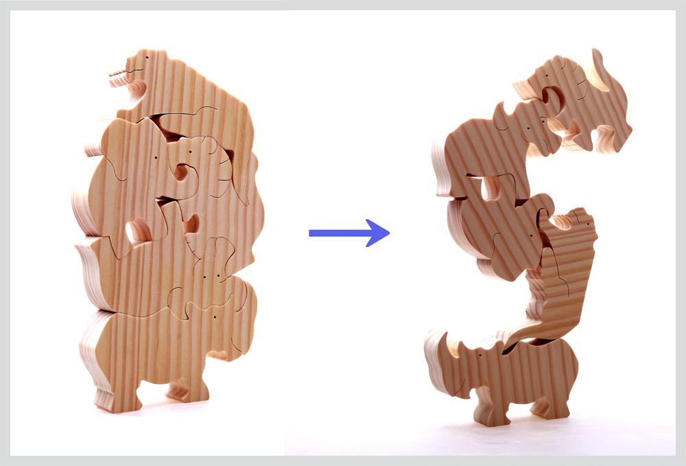 ★南アフリカ★マイクさんのバランスパズル:ビッグ5ライオン、ゾウ、サイ、バッファロー、ヒョウ【おもちゃ 木製 誕生日 バースデー ギフト 贈り物 プレゼント お祝い】の画像1枚目