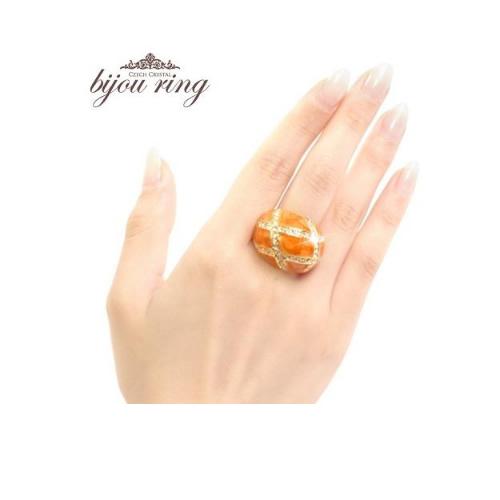 セレブ感香る最高級の輝き。オレンジマーブルラウンドリング【アクセサリー ジュエリー 誕生日 バースデー ギフト 贈り物 プレゼント お祝い】の画像1枚目
