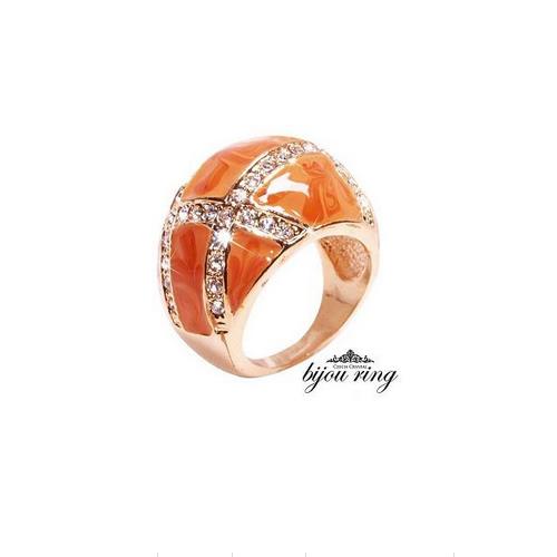 セレブ感香る最高級の輝き。オレンジマーブルラウンドリング【アクセサリー ジュエリー 誕生日 バースデー ギフト 贈り物 プレゼント お祝い】の画像2枚目