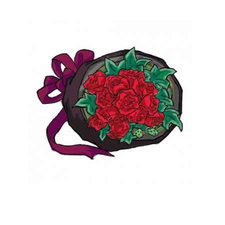 【送料無料】スタッフお任せ花束☆【ラウンド・赤系 S】【花 花束 ブーケ フラワーギフト プレゼント お祝い 誕生日 贈り物】の画像1枚目