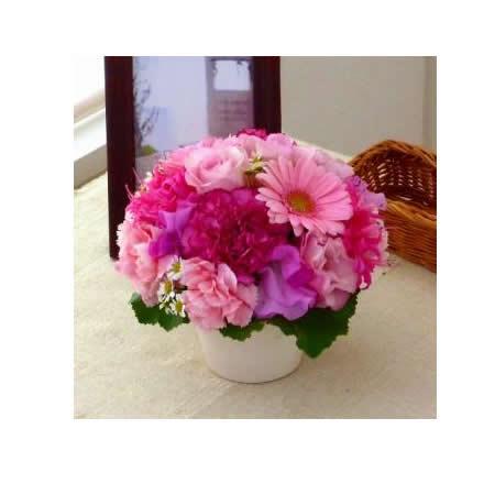 【送料無料】スタッフお任せ☆フラワーアレンジメント【ラウンド ピンク系 S】【花 アレンジメント フラワーギフト プレゼント お祝い 誕生日 贈り物】の画像1枚目