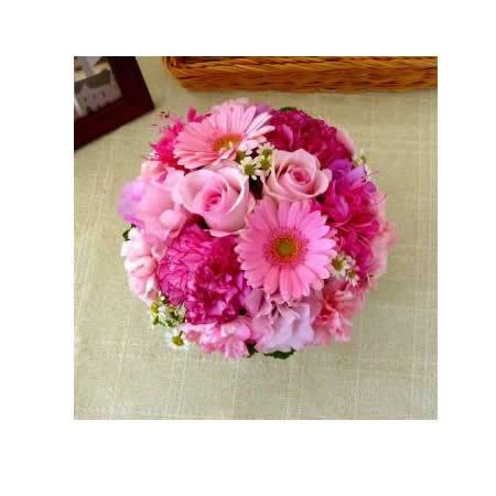 【送料無料】スタッフお任せ☆フラワーアレンジメント【ラウンド ピンク系 S】【花 アレンジメント フラワーギフト プレゼント お祝い 誕生日 贈り物】の画像2枚目