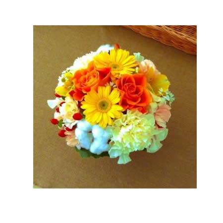【送料無料】スタッフお任せ☆フラワーアレンジメント【ラウンド イエロー/オレンジ系 S】【花 アレンジメント フラワーギフト プレゼント お祝い 誕生日 贈り物】の画像2枚目