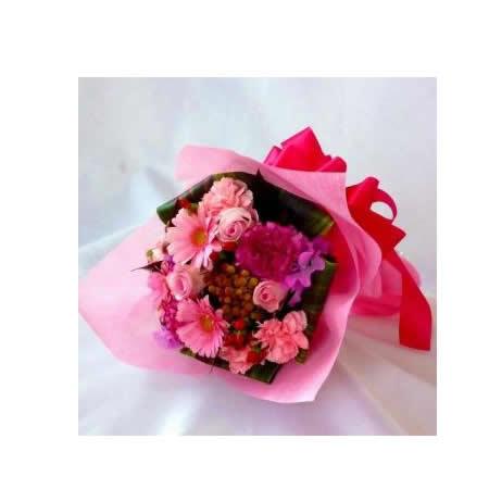 【送料無料】スタッフお任せ花束☆【ラウンドピンク系 M】【花 花束 ブーケ フラワーギフト プレゼント お祝い 誕生日 贈り物】の画像1枚目