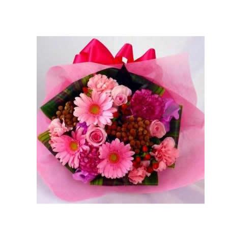 【送料無料】スタッフお任せ花束☆【ラウンドピンク系 M】【花 花束 ブーケ フラワーギフト プレゼント お祝い 誕生日 贈り物】の画像2枚目