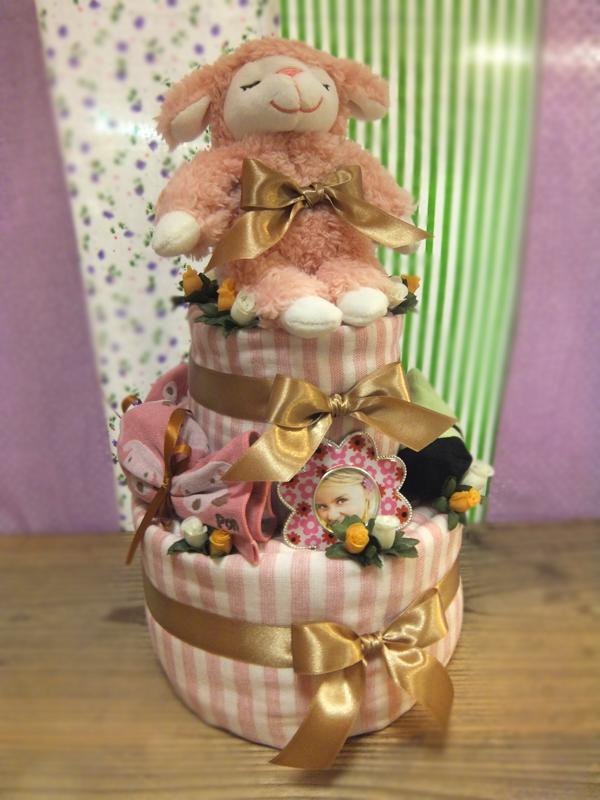 【送料無料】日本製タオル(今治タオル)とTrumpetteのオムツケーキ【Pon】タオル[ポンちゃんガーゼボーダー]ソックス[トランペットベビーソックス] Pink(ピンク)【出産祝い ベビー用品 日用品 誕生日 バースデー ギフト 贈り物 プレゼント お祝い】【キッズ・ベビー・マタニティ > 出産祝い・内祝い・ギフト > ギフトセット > 出産祝い】記念日向けギフトの通販サイト「バースデープレス」