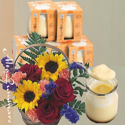 7月の誕生花アレンジメント&プレミアムとろけるプリン6個セット【花 フラワーギフト プレゼント お祝い 誕生日 贈り物】