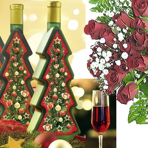 送料無料!クリスマス★ツリーボトルワインとバラの花のセット【クリスマス プレゼント 送料込 ピーロート】【YDKG】