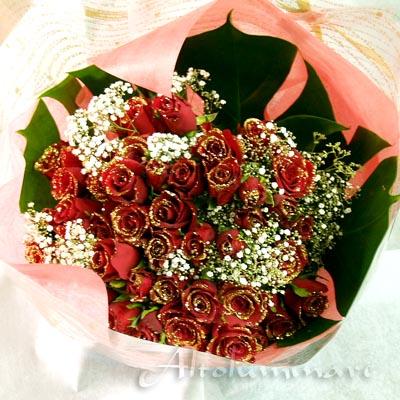 送料無料!輝くバラ 赤 ディアマンテローゼ50本のブーケ(花束)