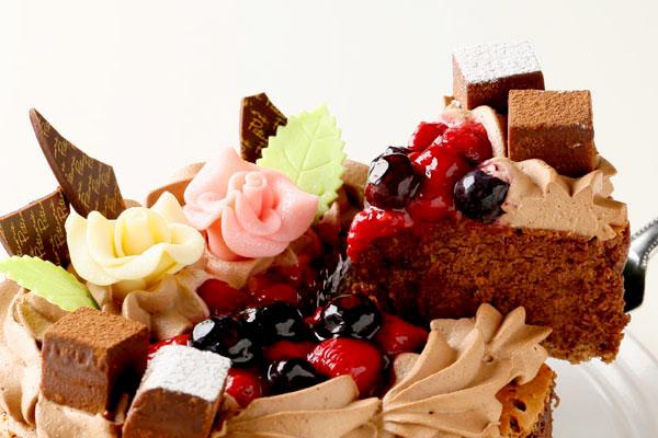 「フルーツ飾り」魅惑のガトーショコラ 5号サイズ(15cm) 3〜5人用の画像3枚目