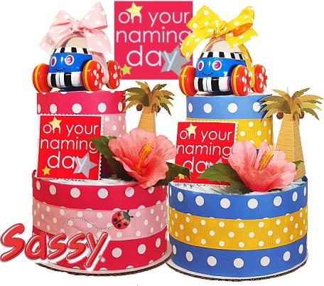 2段おむつケーキ サマー・ポップコーンカー【おむつケーキ 出産祝い 内祝い ベビー 赤ちゃん プレゼント 贈り物 ギフト お祝い】の画像2枚目