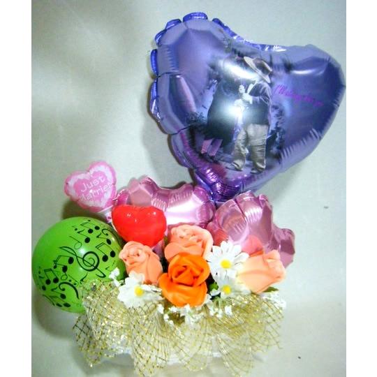 優しい気持伝えるアレンジバルーン【風船 かわいい 誕生日 バースデー ギフト 贈り物 プレゼント お見舞い】の画像1枚目