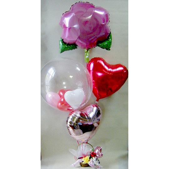 ピンクローズセット【風船 かわいい 誕生日 バースデー ギフト 贈り物 プレゼント 結婚祝い ウェディング】の画像1枚目
