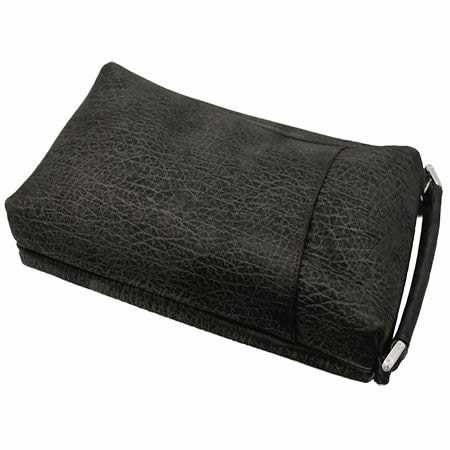 バッファロー本革 縦型セカンドバッグ(ブラック)【革 手作り ハンドメイド 誕生日 バースデー プレゼント 贈り物 ギフト お祝い】の画像2枚目