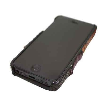 iPhone5専用ケース クロコダイル本革 パッチワーク ハードケース(ブラウン×パープル×ブラック×ピンク×レッド)【革 手作り ハンドメイド 誕生日 バースデー プレゼント 贈り物 ギフト お祝い】の画像3枚目