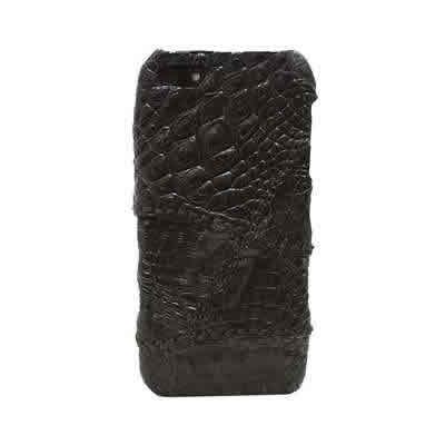 iPhone5専用ケース クロコダイル本革 パッチワーク ハードケース(ブラック)【革 手作り ハンドメイド 誕生日 バースデー プレゼント 贈り物 ギフト お祝い】の画像1枚目