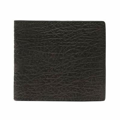 バッファロー本革 メンズ二つ折財布(ブラック)【革 手作り ハンドメイド 誕生日 バースデー プレゼント 贈り物 ギフト お祝い】の画像1枚目