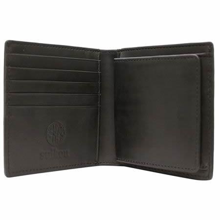 バッファロー本革 メンズ二つ折財布(ブラック)【革 手作り ハンドメイド 誕生日 バースデー プレゼント 贈り物 ギフト お祝い】の画像2枚目