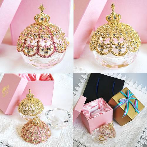 クラウングラスジュエリーボックス(色:ゴールド・ピンク)【小物いれ ジュエリー 誕生日 バースデー プレゼント 贈り物 ギフト お祝い】