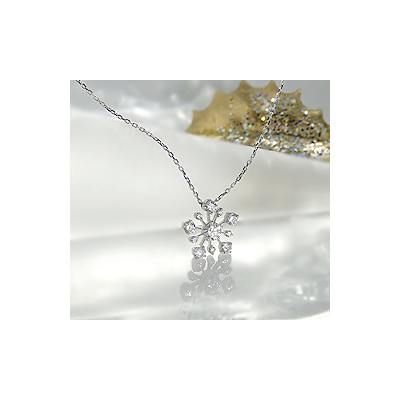 K18WG ロマンチックな雪の結晶ダイヤモンドペンダント【アクセサリー ジュエリー 誕生日 バースデー プレゼント 贈り物 ギフト お祝い】の画像1枚目