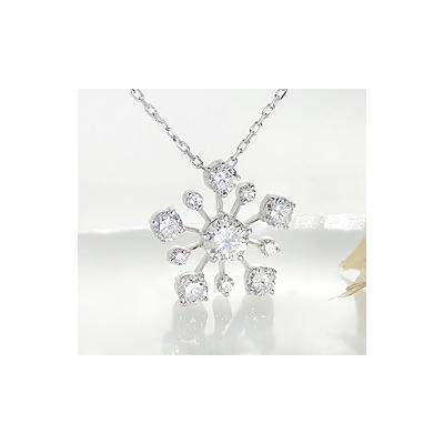 K18WG ロマンチックな雪の結晶ダイヤモンドペンダント【アクセサリー ジュエリー 誕生日 バースデー プレゼント 贈り物 ギフト お祝い】の画像2枚目