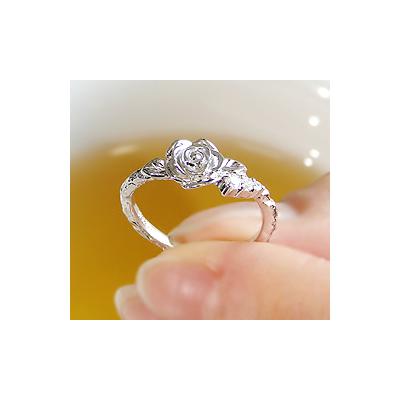 K18WGダイヤモンドロマンス ローズリング【アクセサリー ジュエリー 誕生日 バースデー プレゼント 贈り物 ギフト お祝い】の画像2枚目