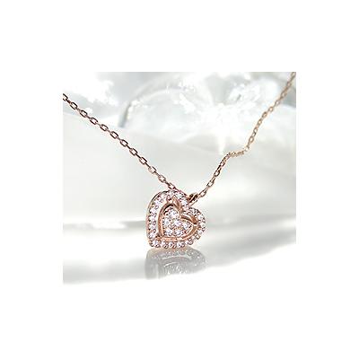 K18PG ハートダイヤモンドペンダント【アクセサリー ジュエリー 誕生日 バースデー プレゼント 贈り物 ギフト お祝い】の画像1枚目