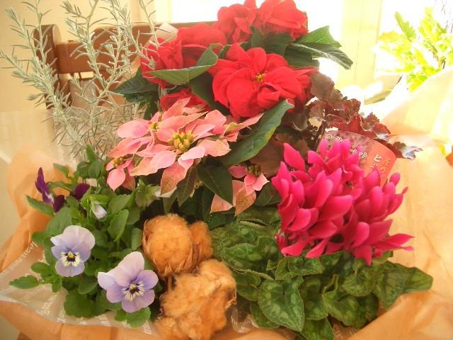 フラワーバスケットL【花 アレンジメント フラワー 誕生日 バースデー プレゼント 贈り物 ギフト お祝い】の画像1枚目