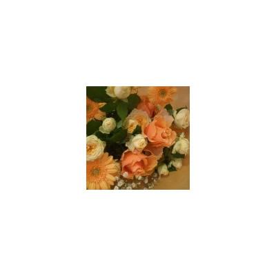 元気いっぱい オレンジ系花束【花 フラワー 誕生日 バースデー プレゼント 贈り物 ギフト お祝い】の画像1枚目