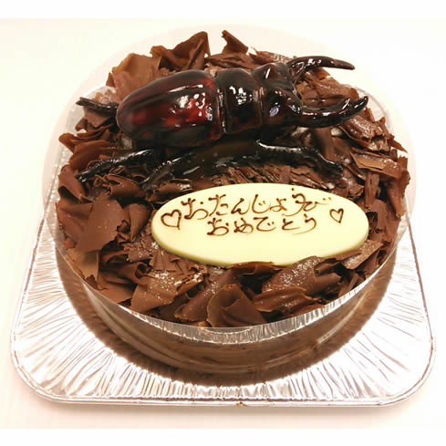 セアカフタマタクワガタのガトーショコラ5号直径15cm【デコレーション チョコレート 子供 ケーキ スイーツ 誕生日 バースデー プレゼント 贈り物 ギフト お祝い】の画像1枚目