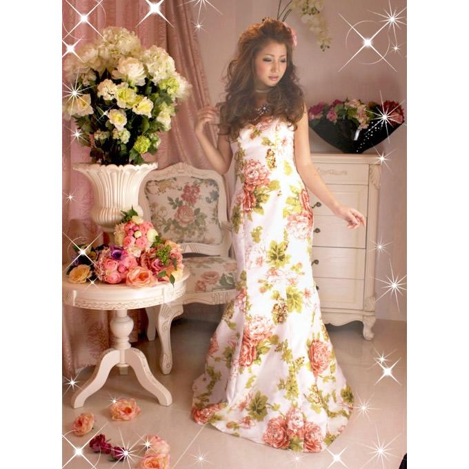セレブ系◆KA0238◆フラワーマーメイドライン◆ロマンチックな花柄 ♪カラードレス/結婚式、お誕生日、パーティー【ファッション パーティ 結婚式 誕生日 バースデー プレゼント 贈り物 ギフト お祝い】の画像1枚目